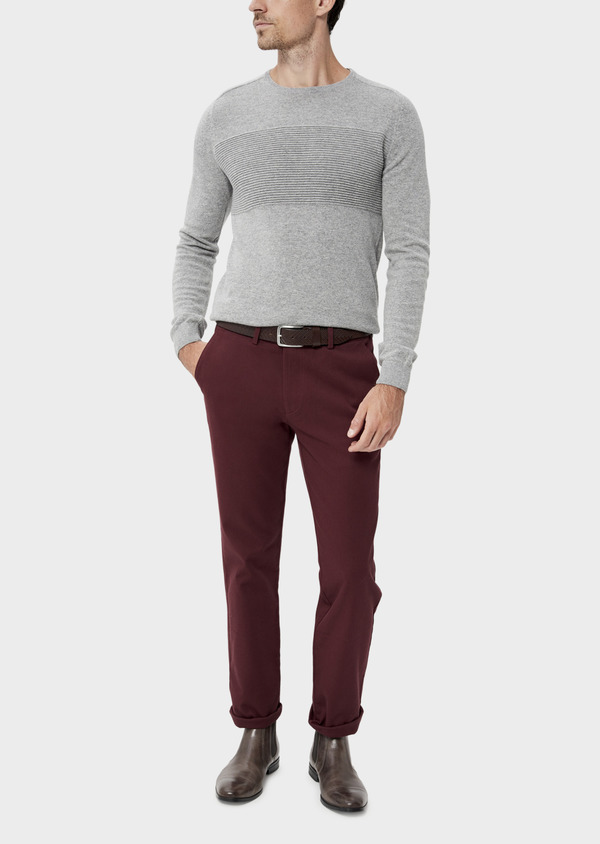 Pantalon casual skinny en coton stretch uni bordeaux - Father and Sons 35394