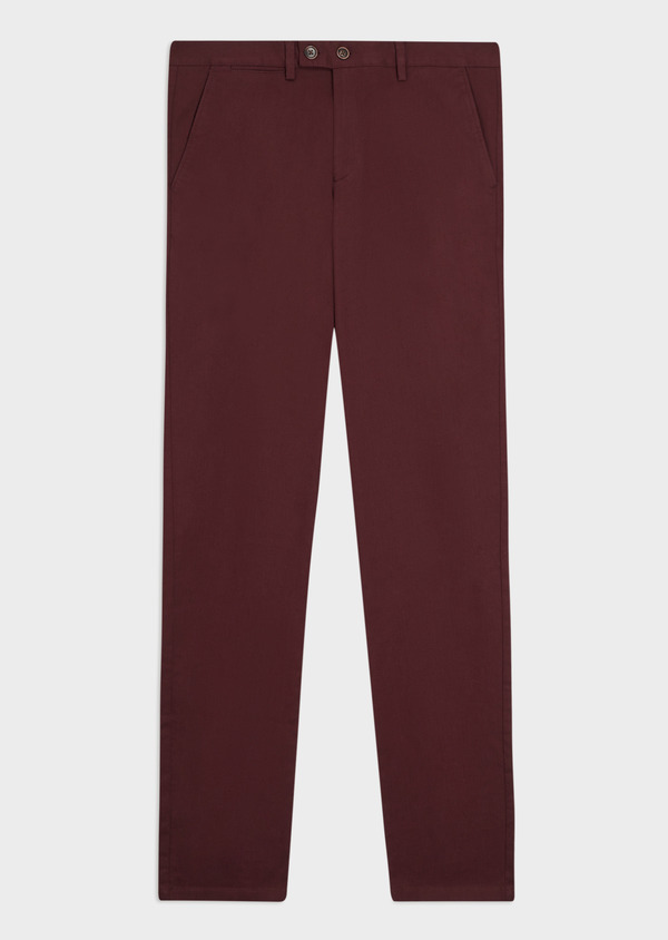 Pantalon casual skinny en coton stretch uni bordeaux - Father and Sons 35392