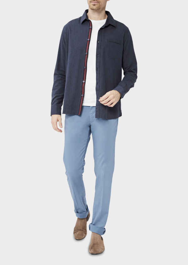Chino slack skinny en coton stretch uni chambray - Father and Sons 37321