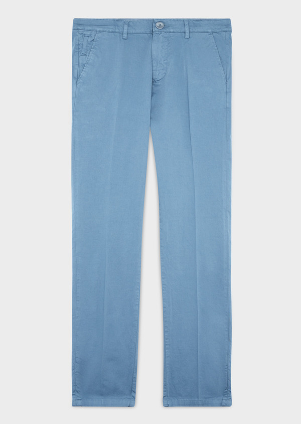 Chino slack skinny en coton stretch uni chambray - Father and Sons 37319