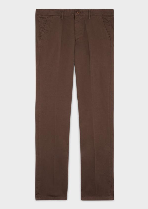Chino slack skinny en coton stretch uni marron foncé - Father and Sons 37322