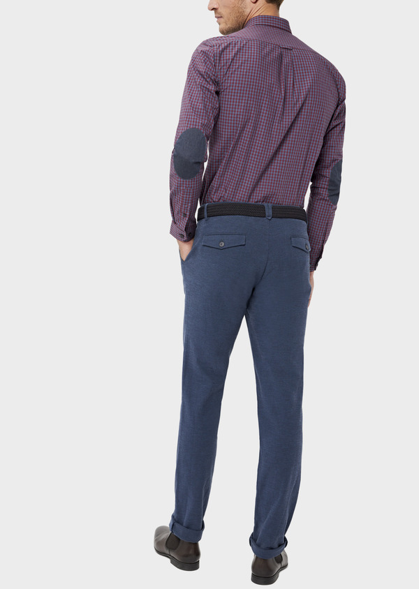 Pantalon casual skinny en coton stretch uni bleu indigo - Father and Sons 36130