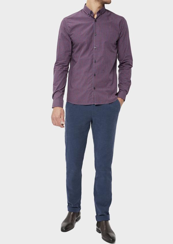 Pantalon casual skinny en coton stretch uni bleu indigo - Father and Sons 36129
