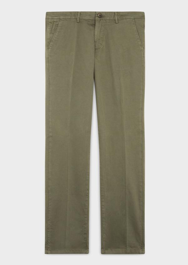 Chino slack skinny en coton stretch uni vert kaki - Father and Sons 37325