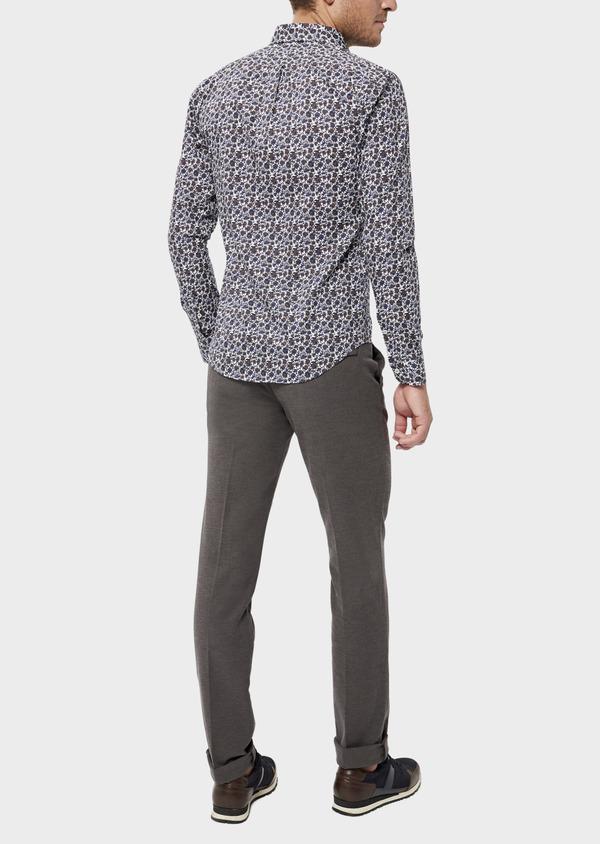 Pantalon casual skinny en coton stretch uni marron - Father and Sons 36142
