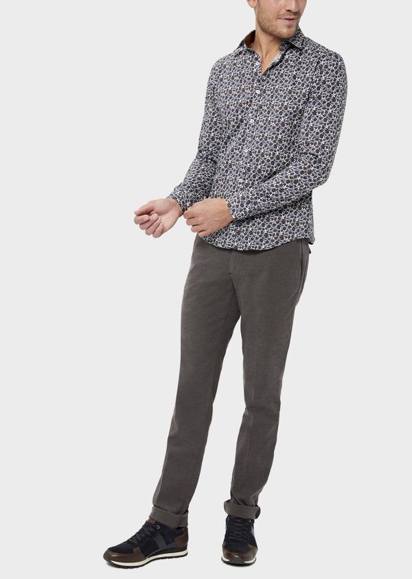 Pantalon casual skinny en coton stretch uni marron - Father and Sons 36141