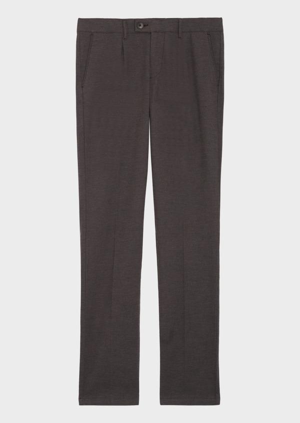 Pantalon casual skinny en coton stretch uni marron - Father and Sons 36139