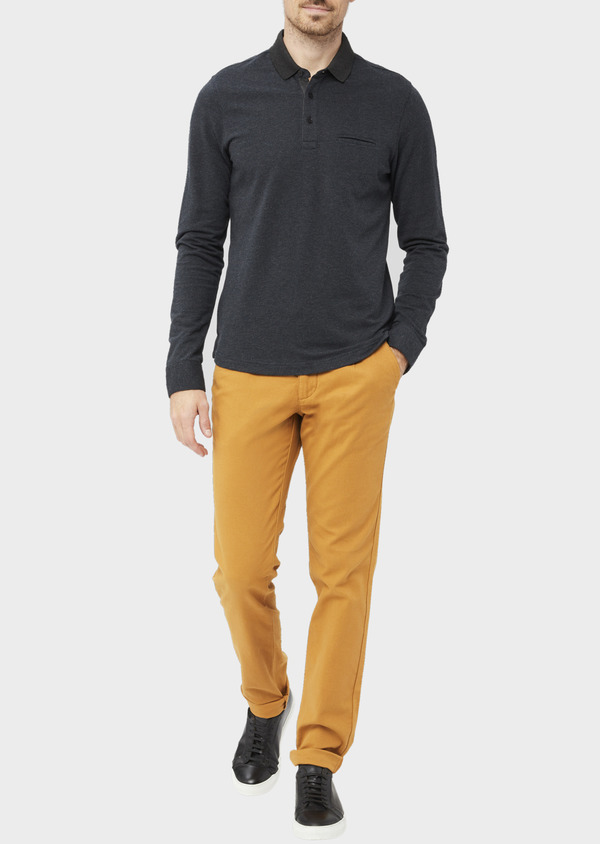 Chino slack skinny en coton stretch uni jaune moutarde - Father and Sons 37031