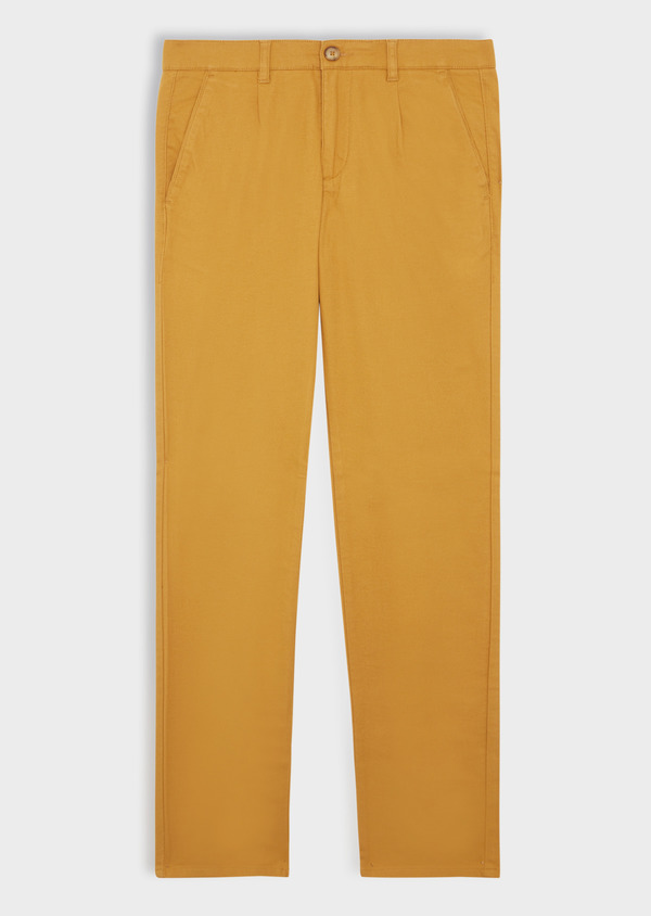 Chino slack skinny en coton stretch uni jaune moutarde - Father and Sons 37029