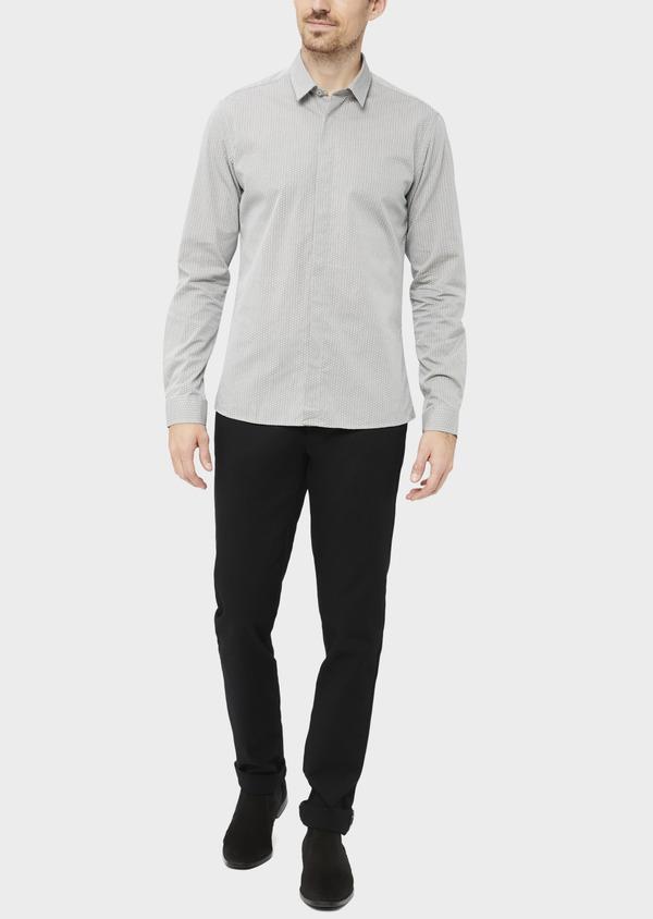 Pantalon casual skinny en coton stretch uni noir - Father and Sons 37167
