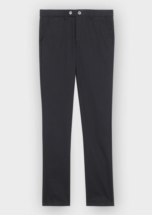 Pantalon casual skinny en coton stretch uni noir - Father and Sons 37165