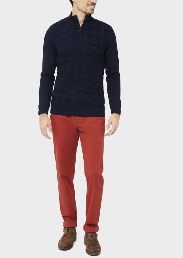 Chino slack skinny en coton stretch uni orange - Father and Sons 37172