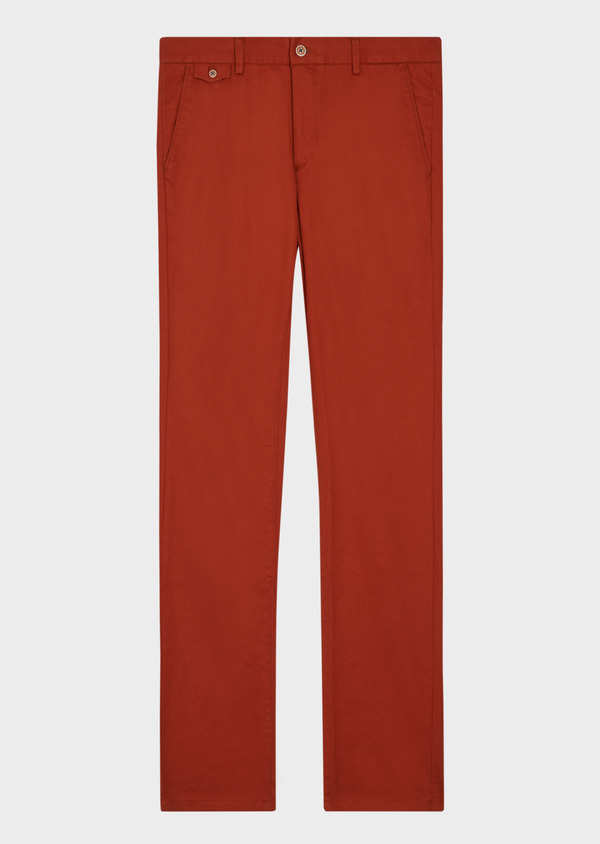 Chino slack skinny en coton stretch uni orange - Father and Sons 37170