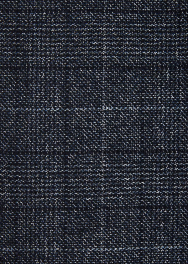 Pantalon coordonnable Slim en laine mélangée bleu chambray Prince de Galles - Father and Sons 36116
