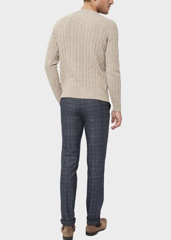 Pantalon coordonnable Slim en laine mélangée bleu chambray Prince de Galles - Father and Sons 36118