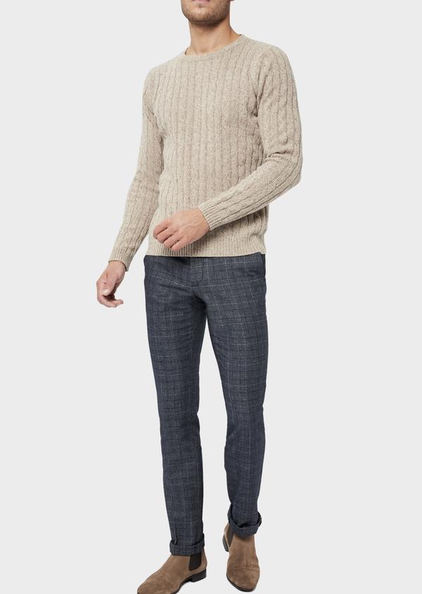 Pantalon coordonnable Slim en laine mélangée bleu chambray Prince de Galles - Father and Sons 36117