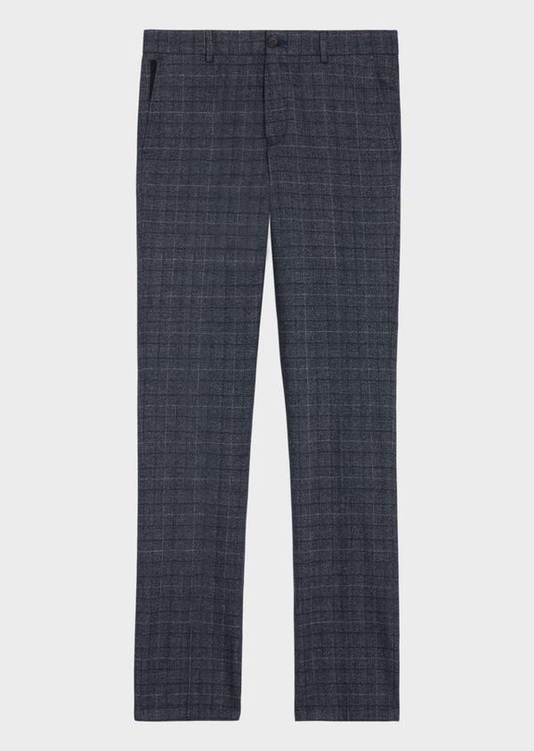 Pantalon coordonnable Slim en laine mélangée bleu chambray Prince de Galles - Father and Sons 36115