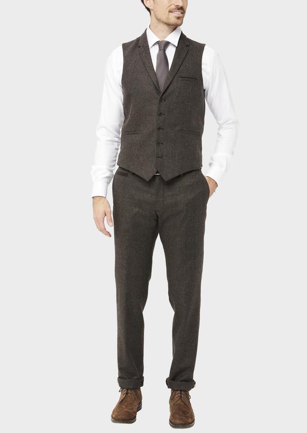 Pantalon coordonnable Slim en laine mélangée marron Prince de Galles - Father and Sons 37023