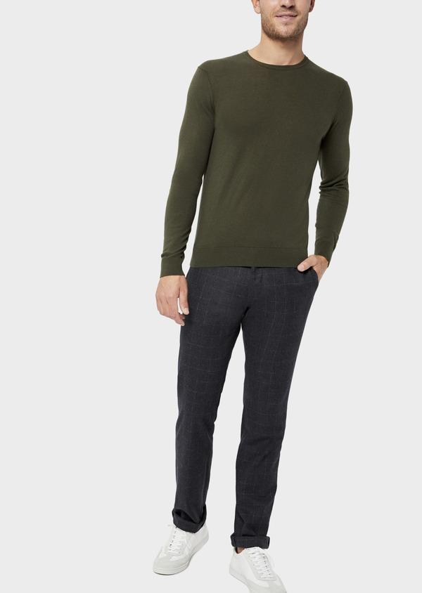 Pantalon coordonnable Slim en laine mélangée à carreaux gris - Father and Sons 36517