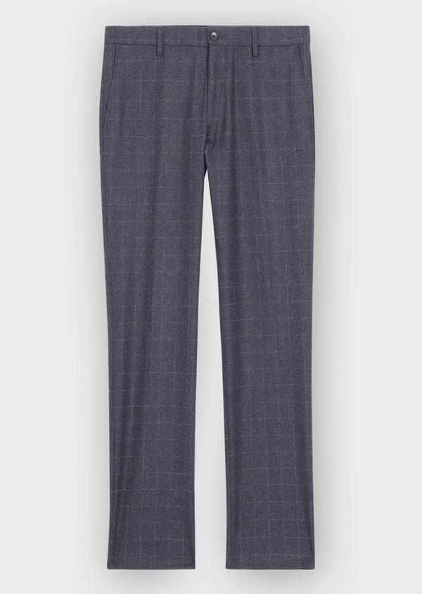 Pantalon coordonnable Slim en laine mélangée à carreaux gris - Father and Sons 36515