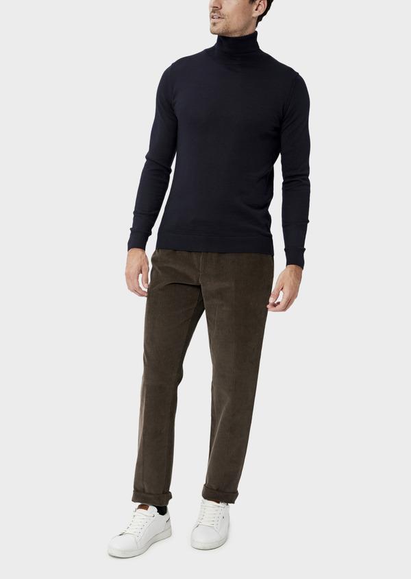 Pantalon coordonnable Slim en velours côtelé uni marron - Father and Sons 35406