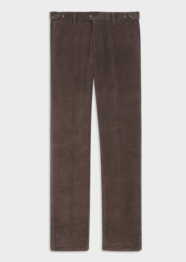 Pantalon coordonnable Slim en velours côtelé uni marron - Father and Sons 35404