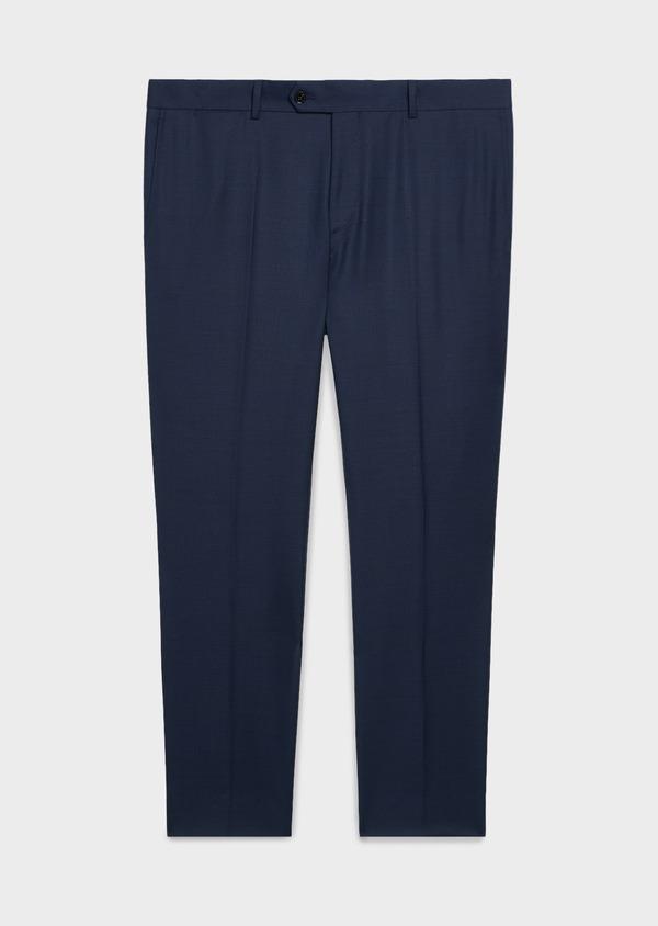 Pantalon de costume Regular en laine Vitale Barberis Canonico bleu marine Prince de Galles - Father and Sons 20027