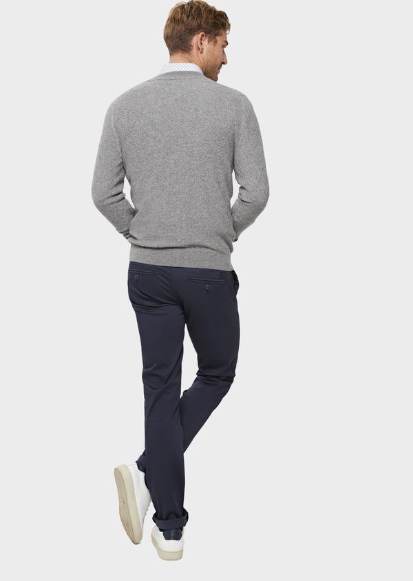 Chino slack skinny en coton stretch bleu indigo à motif fantaisie - Father and Sons 41817
