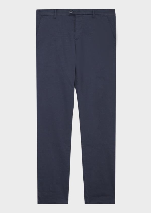 Chino slack skinny en coton stretch bleu indigo à motif fantaisie - Father and Sons 41815