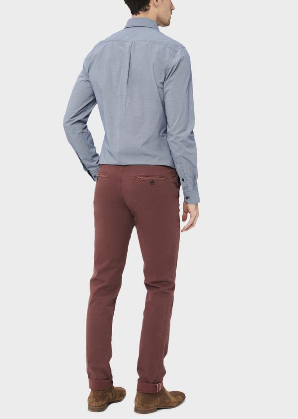 Pantalon casual skinny à motif fantaisie bordeaux - Father and Sons 36883