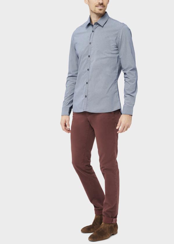 Pantalon casual skinny à motif fantaisie bordeaux - Father and Sons 36882