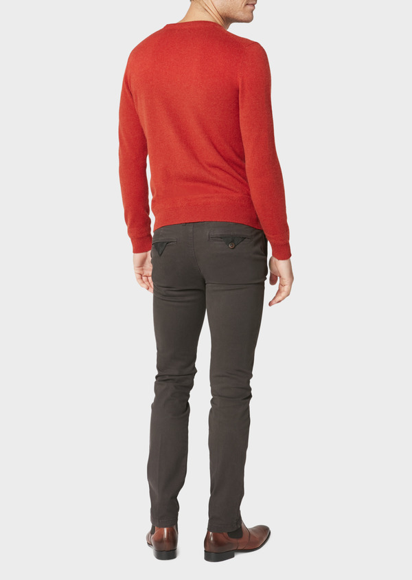 Chino slack skinny en satin chocolat à motif fantaisie - Father and Sons 30802