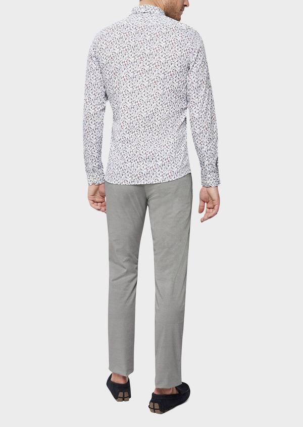Chino slack skinny en coton stretch à motif fantaisie gris - Father and Sons 38735