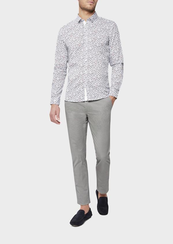 Chino slack skinny en coton stretch à motif fantaisie gris - Father and Sons 38734