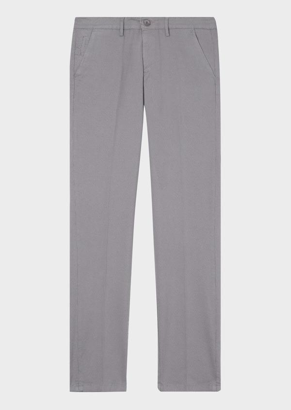 Chino slack skinny en coton stretch gris chiné à motif fantaisie - Father and Sons 31163