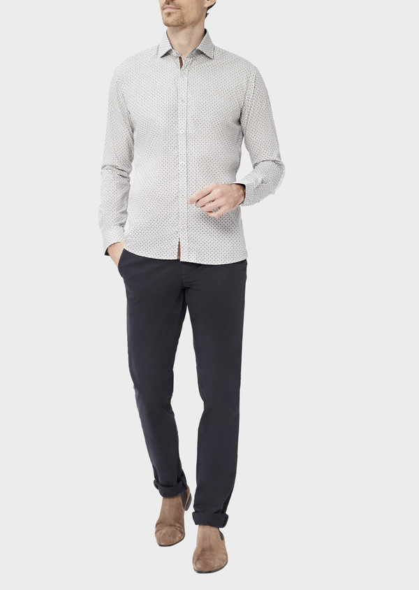 Pantalon casual skinny en twill fantaisie bleu marine - Father and Sons 37303
