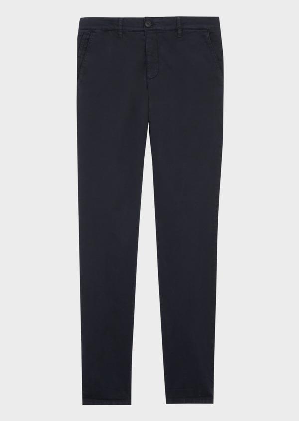Pantalon casual skinny en twill fantaisie bleu marine - Father and Sons 37301