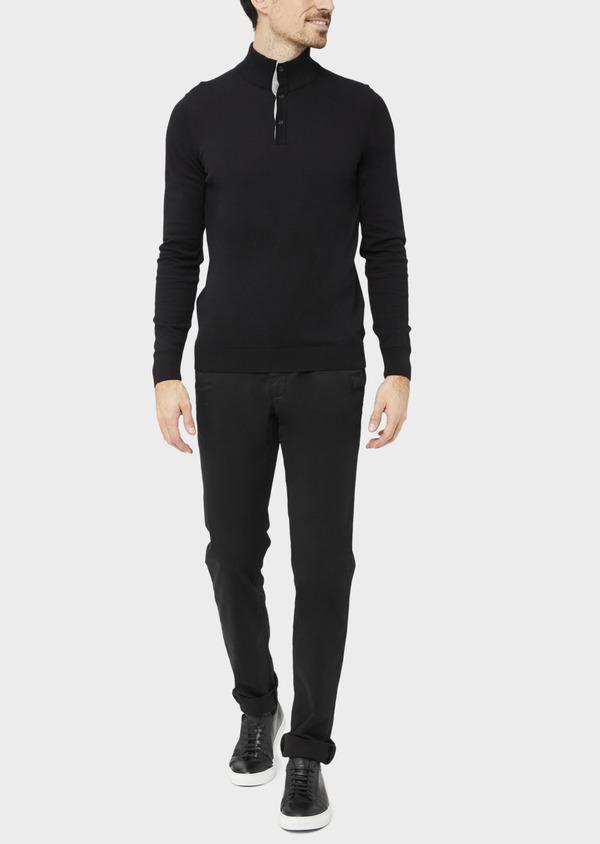 Pantalon casual skinny à motif fantaisie noir - Father and Sons 36886
