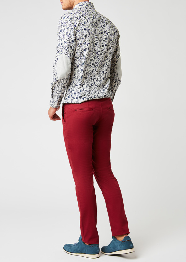 Chino slack skinny en satin rouge à motif fantaisie - Father and Sons 26955