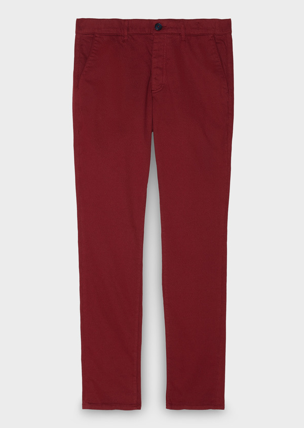 Chino slack skinny en satin rouge à motif fantaisie - Father and Sons 26952