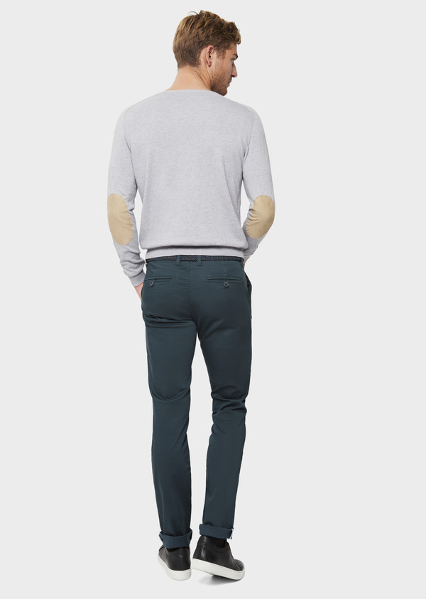 Chino slack skinny en coton stretch vert à motif fantaisie - Father and Sons 41804