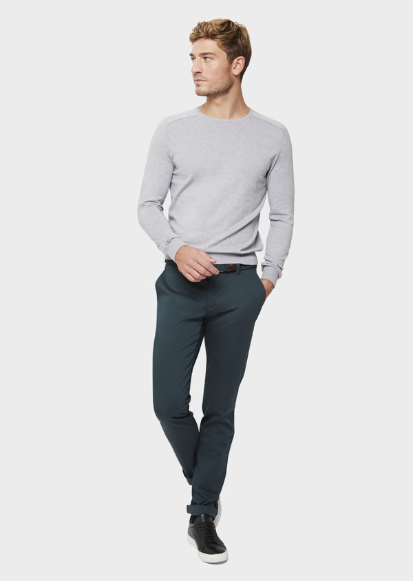 Chino slack skinny en coton stretch vert à motif fantaisie - Father and Sons 41803