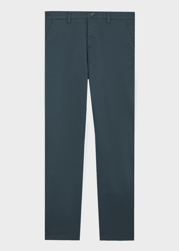 Chino slack skinny en coton stretch vert à motif fantaisie - Father and Sons 41802