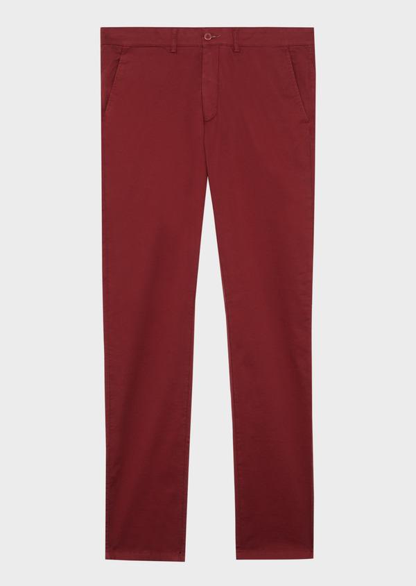Chino slack skinny en coton stretch à micro motifs géométriques bordeaux - Father and Sons 38728