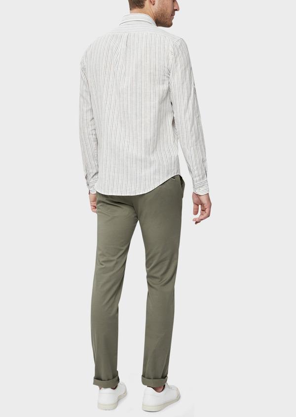 Chino slack skinny en coton stretch à micro motifs géométriques vert kaki - Father and Sons 38715