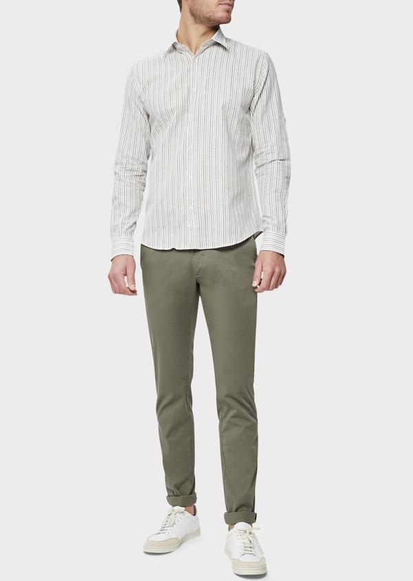 Chino slack skinny en coton stretch à micro motifs géométriques vert kaki - Father and Sons 38714