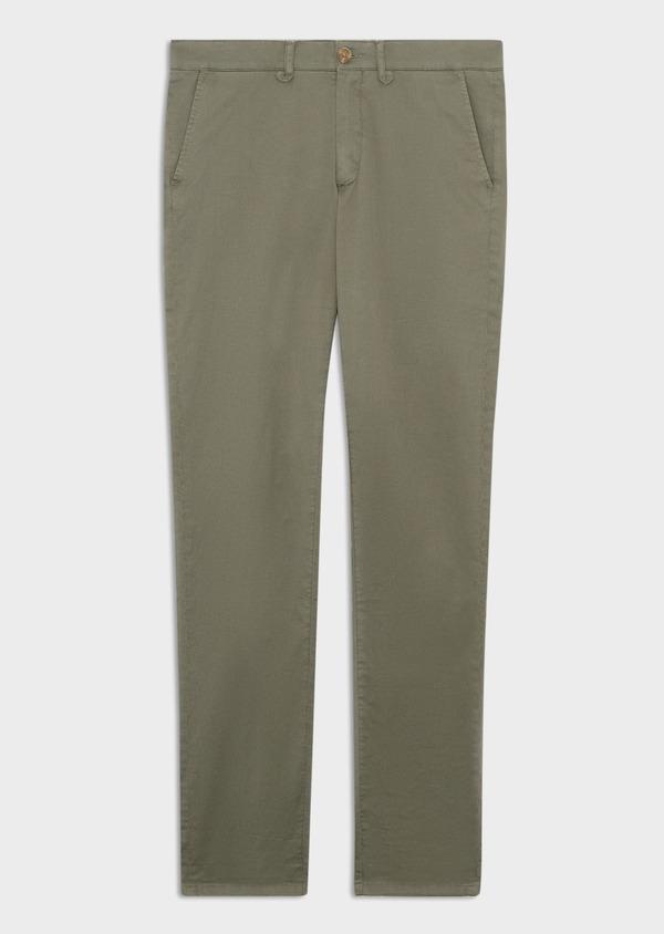 Chino slack skinny en coton stretch à micro motifs géométriques vert kaki - Father and Sons 38712