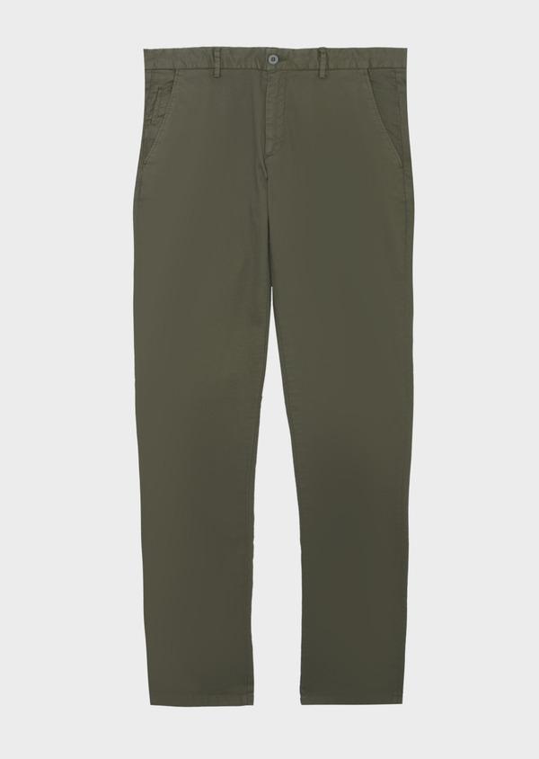 Chino Slack skinny en coton stretch uni vert kaki - Father and Sons 40645