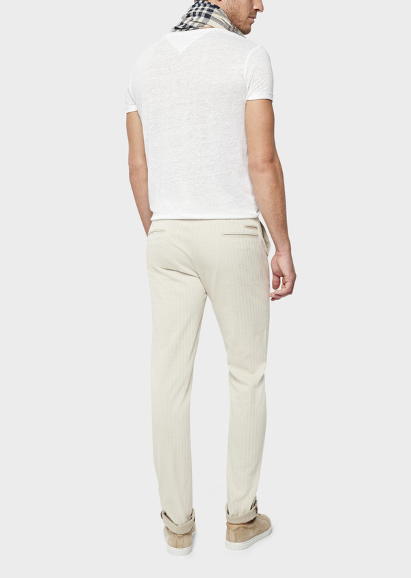 Chino slack skinny en coton stretch à pois beige - Father and Sons 39216