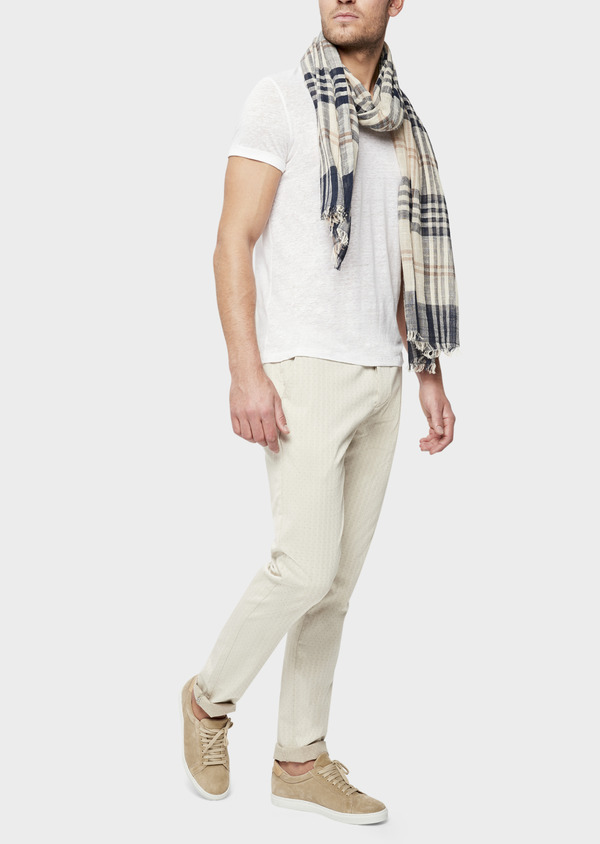 Chino slack skinny en coton stretch à pois beige - Father and Sons 39215